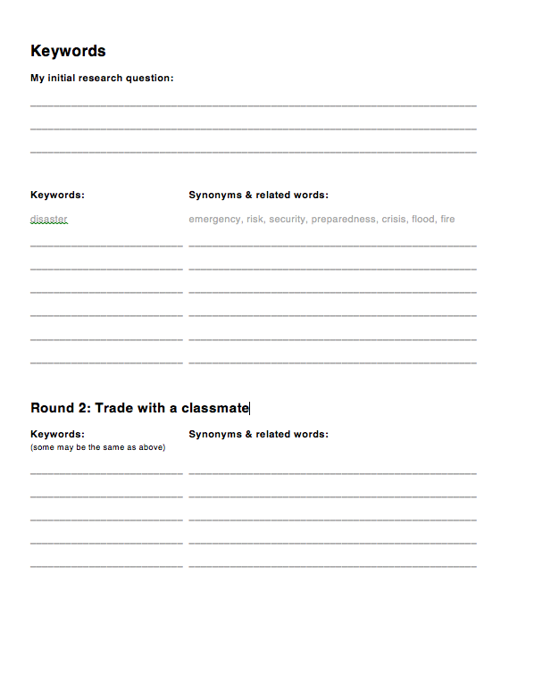 Keyword brainstorm worksheet