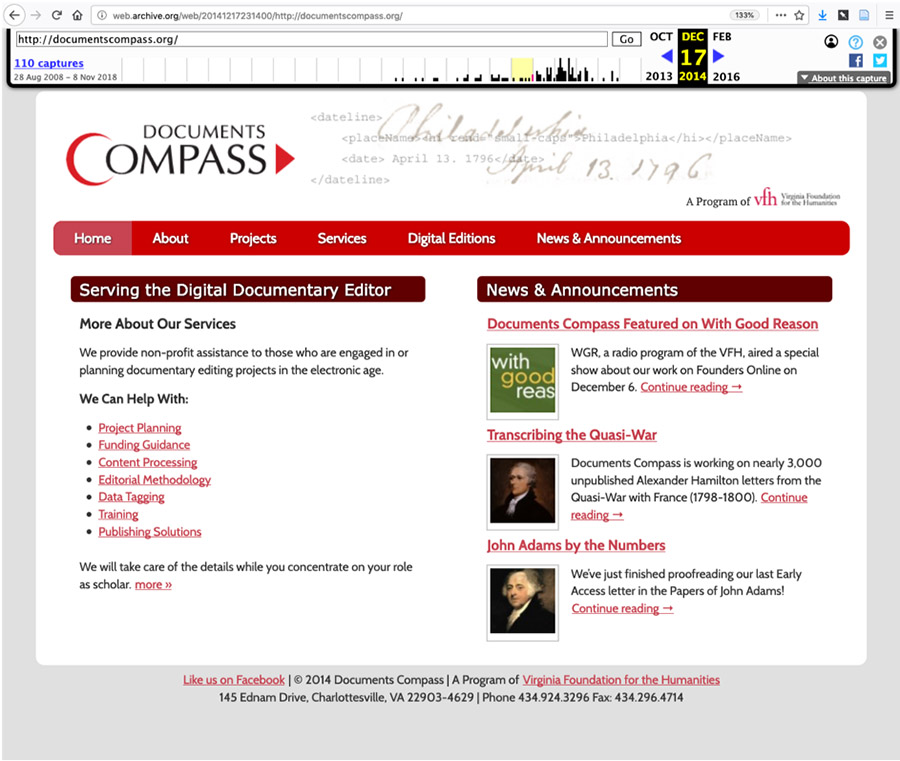 Documents Compass landing page, with subtitle, serving the documentary editor