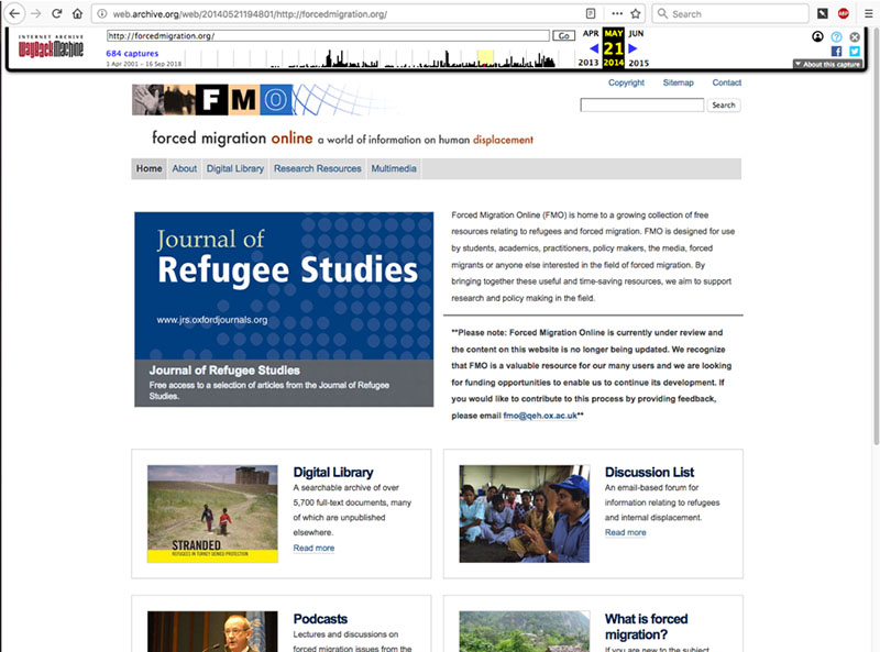 Screenshot of ForcedMigration.org in 2014. Page highlights the Journal of Refugee Studies