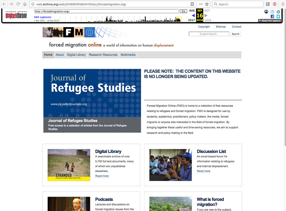 Screenshot of ForcedMigration.org in 2018. Page highlights has a large alert: Please note: the content on this website is no longer being updated.