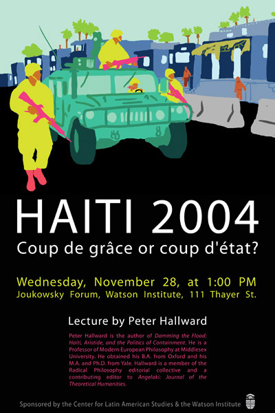 Lecture poster with a colorful army tank
