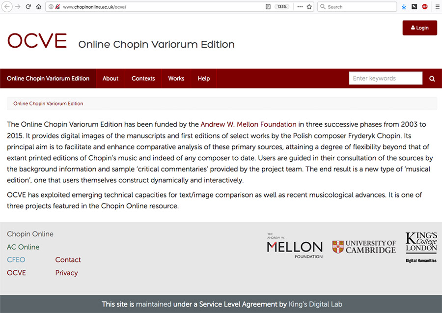 Screenshot of the OCVE with the text, The Online Chopin Variorum Edition has been funded by the Andrew W. Mellon Foundation in three successive phases from 2003 to 2015...