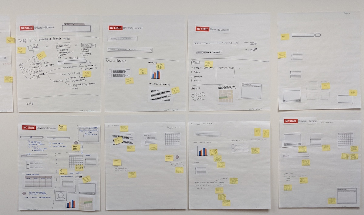 Eight wireframes with sticky notes stuck to the wall