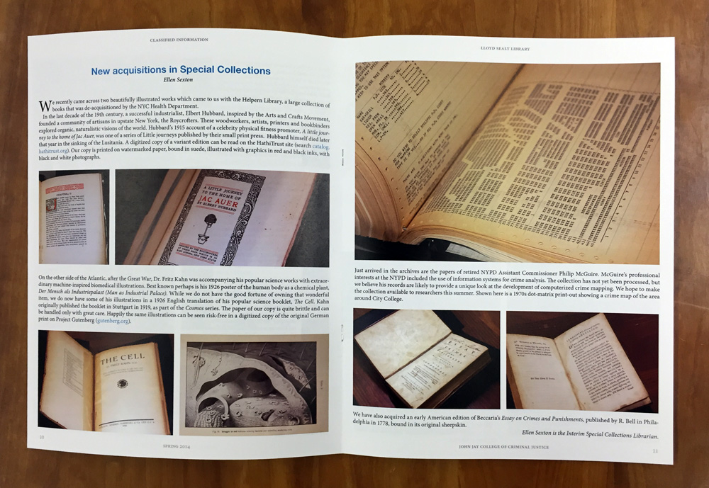 Article spread: Special Collections