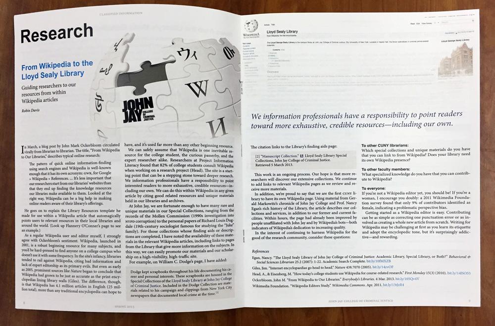 Article spread: on Wikipedia