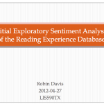 Sentiment analysis of the Reading Experience Database