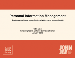 Personal Information Management slide