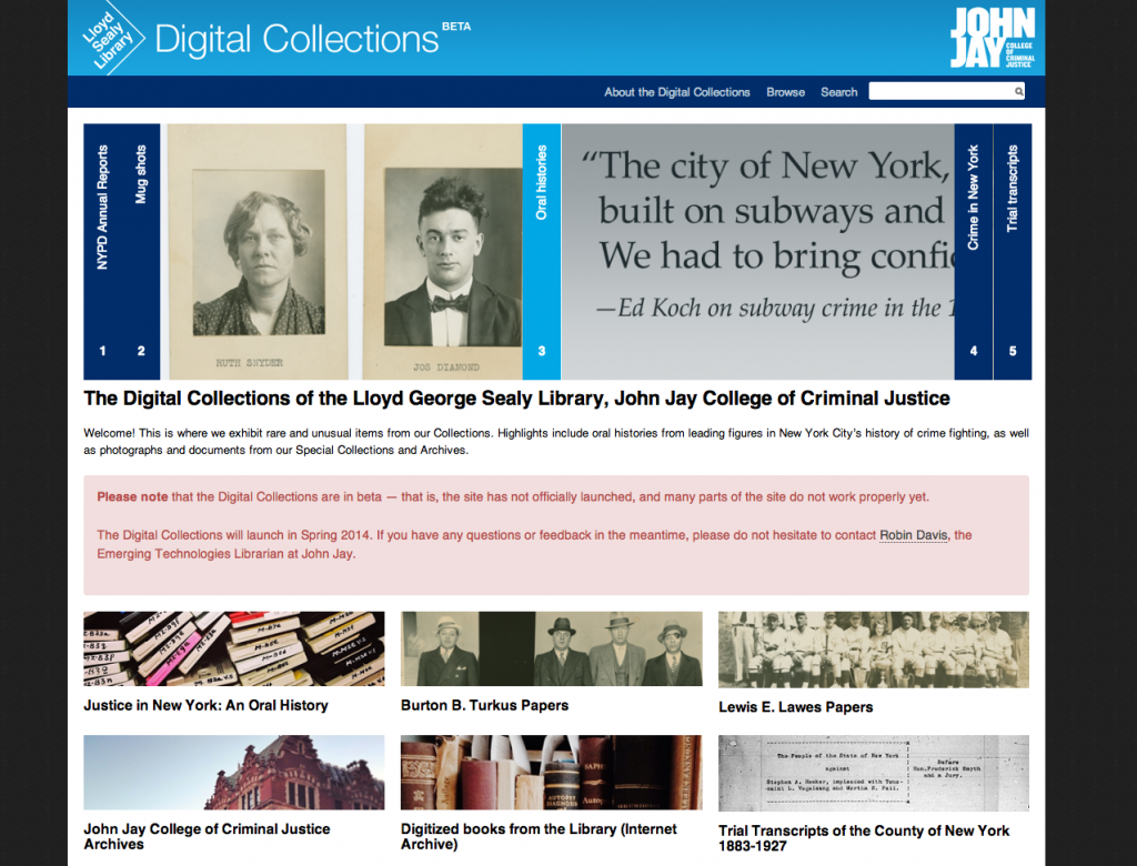 Digital Collections home page, caught mid-slide