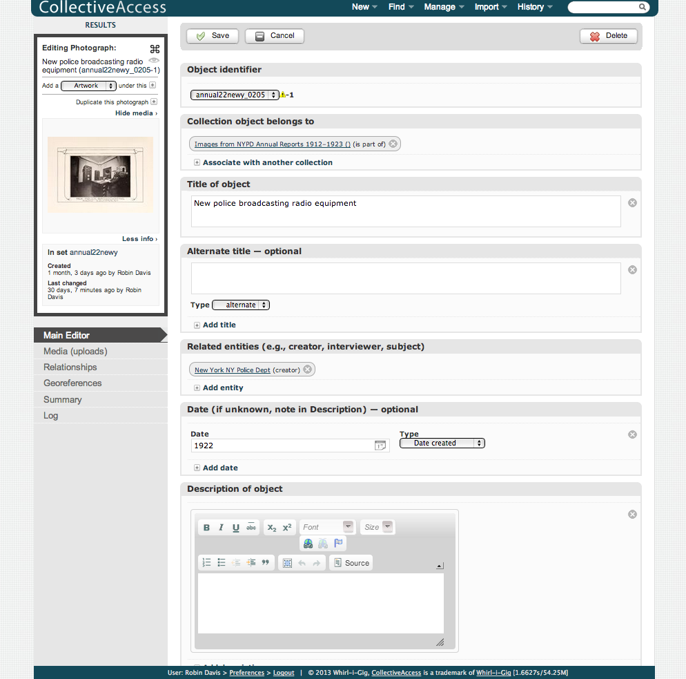 Admin view of CollectiveAccess