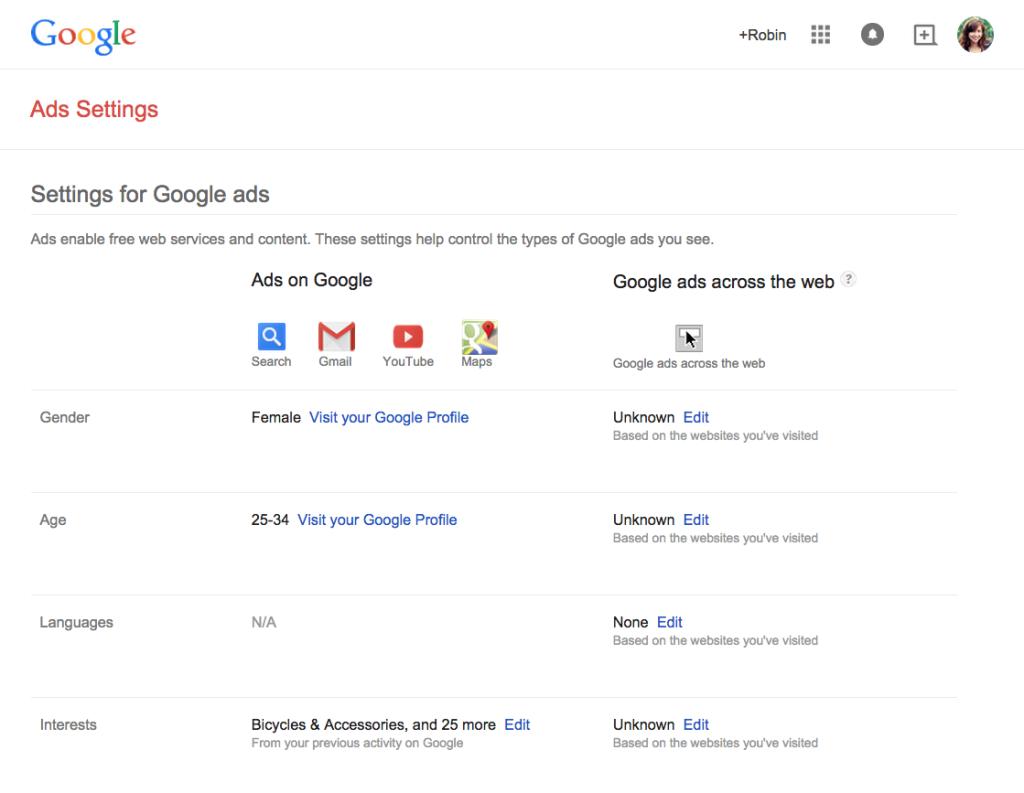 Google ad profile