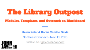Presentation: The Library Outpost: Modules in Blackboard