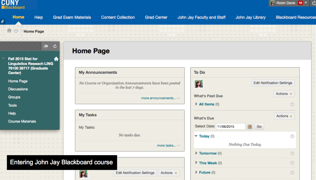 Blackboard course shell example