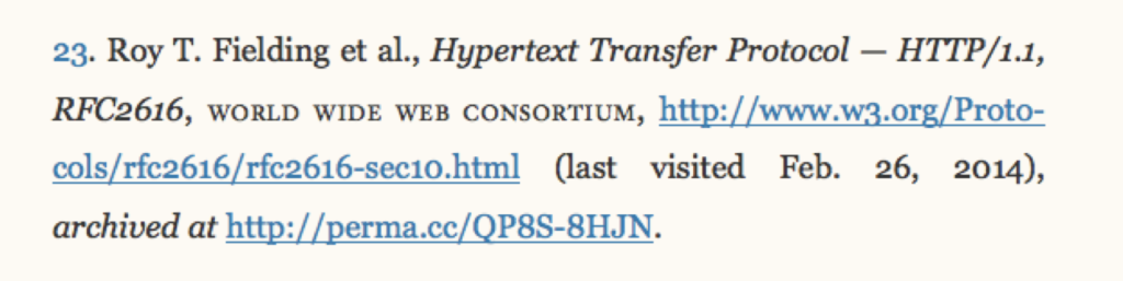 Screenshot of a website cited in a bibliography, with a Perma.cc link